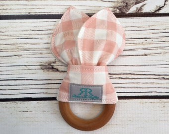 Pink Buffalo Plaid Organic Maple Wood Teether | Teething Toy | Plaid Teether | Gift for Baby Girl | Baby Shower Gift | Organic Baby Toy