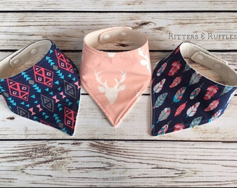 Pink Deer Head, Tribal, Feathers Bandana Bib Set | Woodland Girl | Trendy Baby Bib| Organic Baby Bib | Baby Shower Gift | Gift for Baby Girl