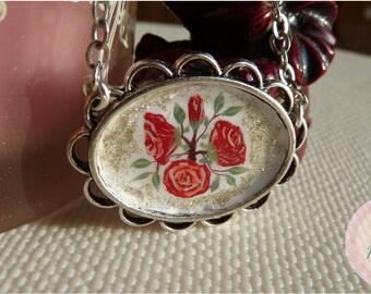 Painted Rose bouquet necklace