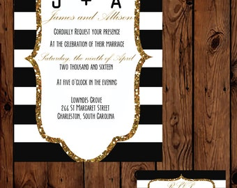 Black, White and Gold Wedding Invitation with RSVP Card