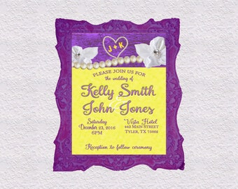 Purple and Yellow Wedding Invitation, RSVP, Thank You Cards, Save the Date Personalized & Printable