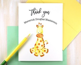 Baby Stationary, Baby Shower Thank You Cards, Baby Gifts, Baby Giraffe, Watercolor Baby Thank You Cards, Personalized Stationery Set of 10
