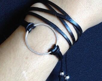 Good Karma Bracelet-Sterling Silver & Black Leather Multi Wrap Bracelet-Bohemian-Trendy- Stacking Bracelet-Eternity Bracelet-Circle Bracelet