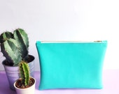 Mint Green Leatherette Pouch With Flamingo Lining