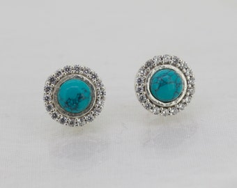 925 Sterling Silver  Earrings. Made   With  Artificial  Turquoise  & Cz