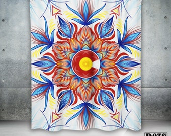 Colorado Mandala Paint Watercolor Modern Shower Curtain Blue Red White Yellow