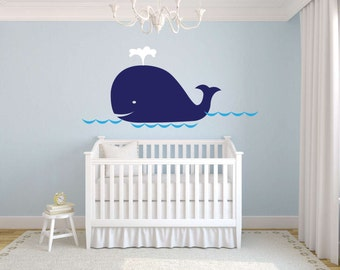 Big Blue Whale Wall Decal Nursery Baby Ocean available in 3 different sizes and 30 different color