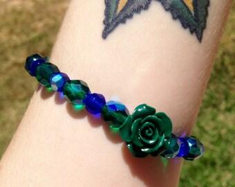 Blue & Teal Rose Bracelet