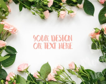 Roses on a White Background / Stock Photography / Product Mockup / High Res File