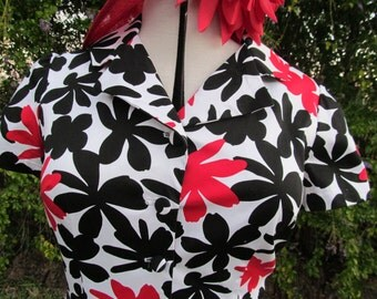 Red, Black and White Cotton Sateen dress Size 16