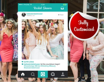 Bridal Shower Frame Photo Booth Prop Hen Party, Bespoke Instagram Design, Personalised Frames,  Instagram Photo Prop