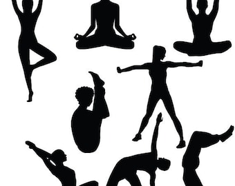 Yoga silhouette svg,dxf, png yoga girl and boy clipart