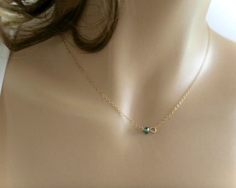 Bright Kelly Green Crystal Necklace Single Emerald Gold Fill Necklace Dainty Delicate Minimalist Gift for Girlfriend Flower Girl Bridesmaid