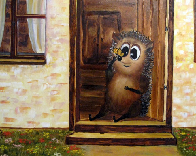 Sale 20%, Oh, Butterfly!-Hedgehog series of Timothy-Oil Painting On Canvas By Nikulina Yulia- size 24*20( 60*50 cm)- naive painting
