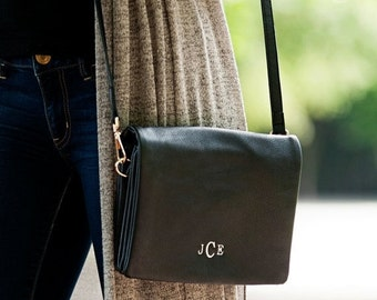 24hrSALE Monogrammed Black Palmer Crossbody - Gifts For Her Fall Accessories Fall Bags