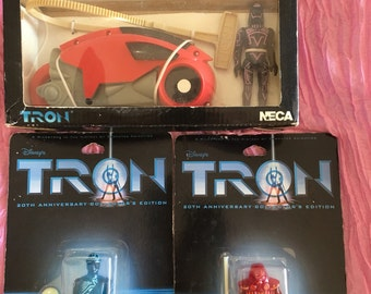 Tron collector set figures light cycle vehicle Flynn