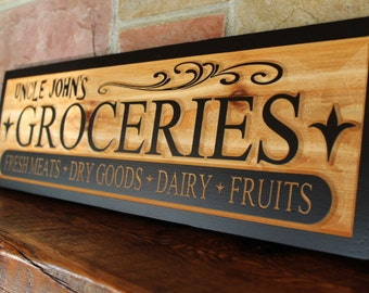 Grocery sign, fixer upper style, fixer upper sign, carved wooden sign, farmhouse sign wood, fixer upper decor, wood kitchen sign, farmhouse