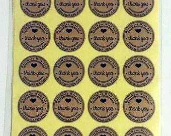 25mm Hand Made with Love Thank You Labels - Qty 100