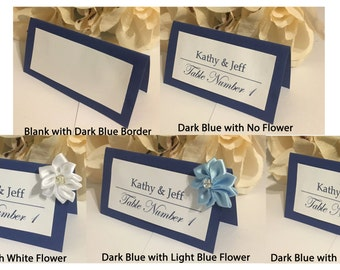 50 Customized Elegant Name Place Cards For Wedding, Special Events (Dark Blue)