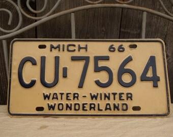 Vintage Michigan License Plate 1966 Water-winter Wonderland Metal Old Licence Plate