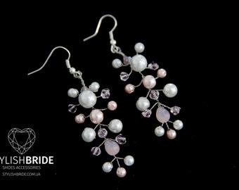 Crystal Pink Earrings, Silver Pearl earrings, handmade earrings, Handmade Pearl earrings, Jewelry earrings, Handmade jewelry, Wire earrings