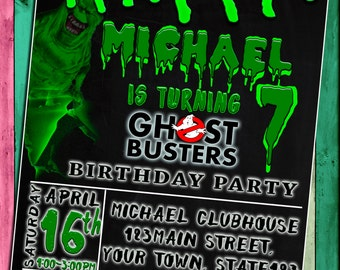 Ghostbusters Birthday, Ghostbusters Invitation, Ghostbusters Party , Ghostbusters Birthday Party Invitation