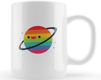 Rainbow planet mug, character mug gift, space gift, fun novelty space enthusiast present UK, Unique educational kids children gift