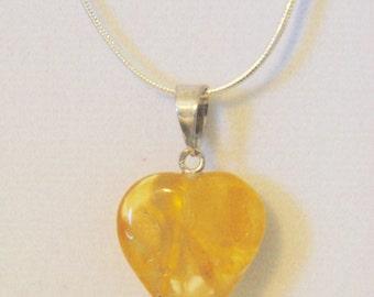 Baltic Amber Heart shaped pendant- yellow amber