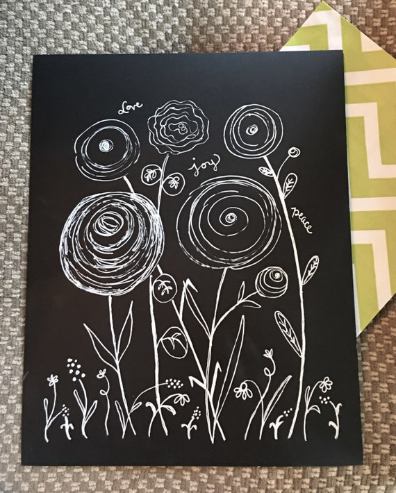 "Custom Calligraphy ""Floral LOVE JOY PEACE"" White Ink Chalkboard Art Print / Heavyweight Chalkboard Paper and Chalk Pen / Frameable /"