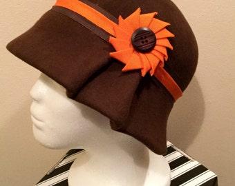 Brown felt Cloche with orange trim