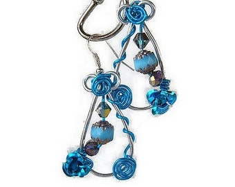 turquoise and silver aluminum wire, beads and flower pierced earrings