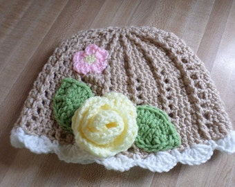 Crochet Childs Hat Beige Hat with Flower