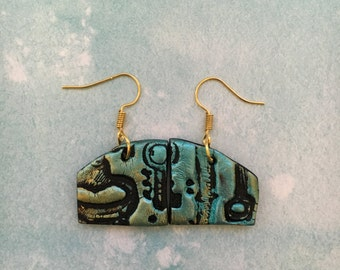 Polymer clay key earrings