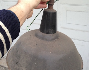Lamp black enamelled metal industrial vintage - year 40/50