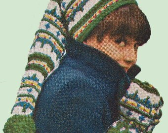 Vintage Knit Ski Hat and Mittens Pattern