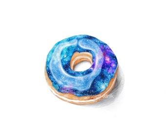 Colored Pencil Drawing, ART PRINT, Galaxy Donut, Stars, handmade