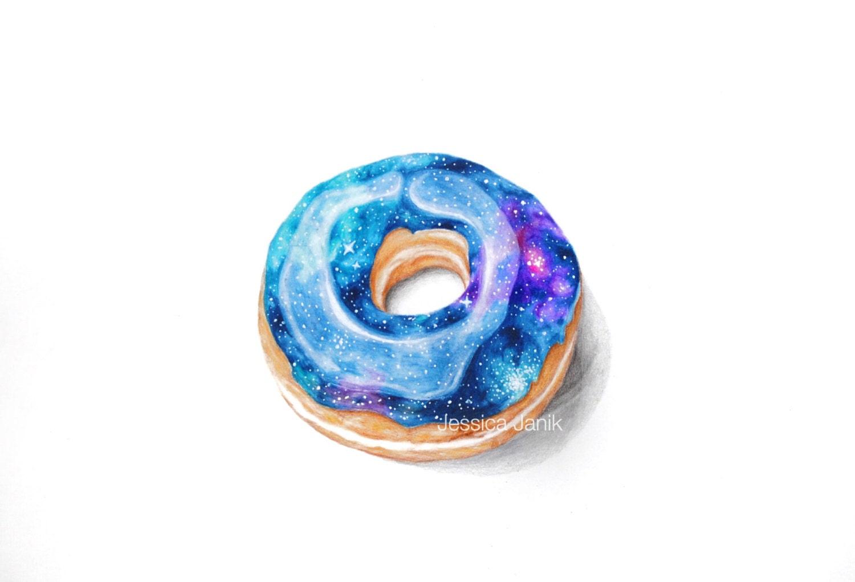 Color printing bu - Colored Pencil Drawing Art Print Galaxy Donut Stars Handmade