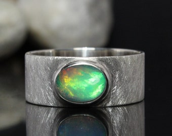 Opal ring with great opal -- Wide sterling silver ring -- made with love