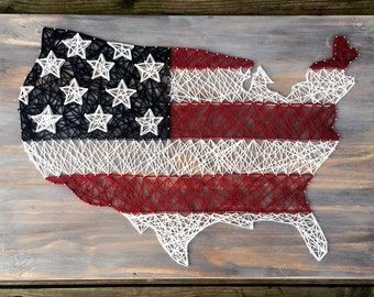 American Flag - United States Map - String Art