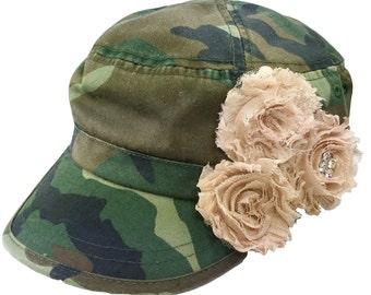 Camo Cadet Shabby Chic Hat, Ladies Cadet Cap, Rhinestone hat, Embellished Cap, Women's Cadet Hat, Military Hat, Bling Camo Cap, Bling Hat
