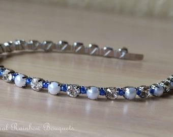 Handmade Wedding Pearl and Diamante Headband
