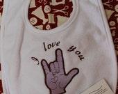 I LOVE YOU, ASL, baby bib.