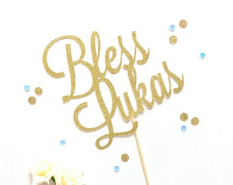 Baptism Cake Topper | Personalized Bless Cake Topper | First Communion Topper | Christening | Religious Cake Topper | God Bless Cake Topper