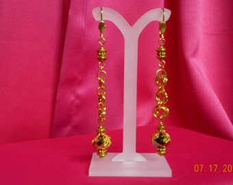 Handmade gold earrings with lever backs