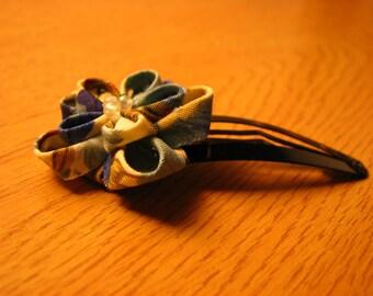 Double Layered Blue Kanzashi Flower Hair Clip