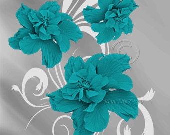 Elegance - Teal Matted, Wall Art Photography,Home Decor, Flower, Floral,  Living Room, Bedroom, Kids Room, Family Room