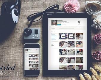 Styled iPhone & iPad mockup to showcase a startup, website template, application, blog, portfolio, app. Styled Marketing Sock Photography