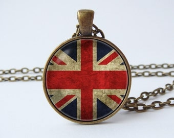 British flag necklace Union Jack United Kingdom Flag jewelry UK flag pendant British flag pendant Patriotic jewelry Union Jack jewelry
