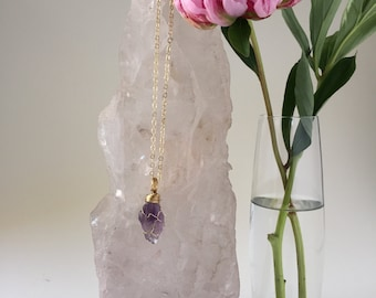 Wire-wrapped Raw Amethyst Necklace