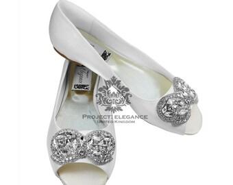 Wedding Flat Peep Toe Ivory/ White Bridal Ballerina Flat Shoes Size US 4 5 6